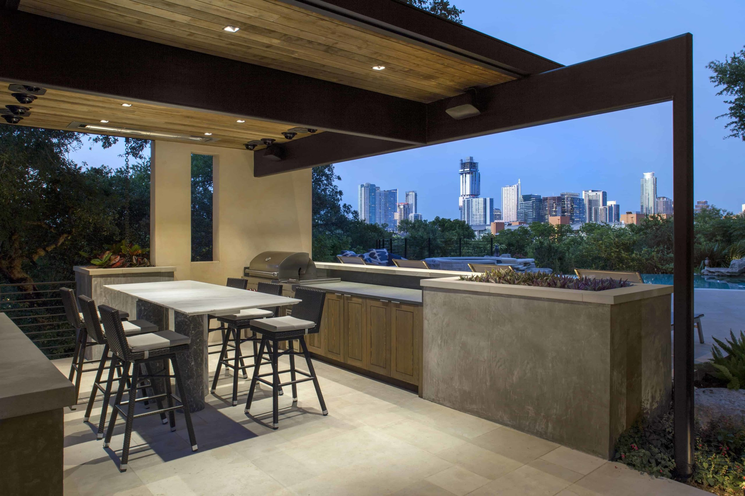 Cabana with Austin, TX cityview by Jay Corder Architect